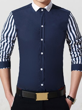 Color Block Stripe Design Mens Casual Shirt