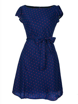 Polka Dots Ruffle Sleeve Belt Day Dress