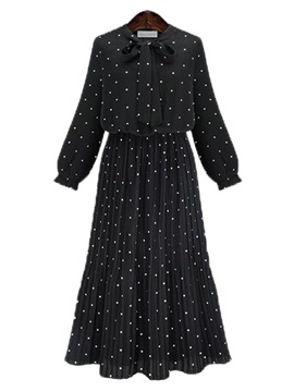 Polka Dots Lantern Sleeve Day Dress