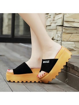 Letters Printed Ring Toe Wedge Sole Sandals