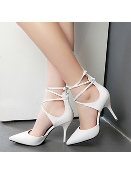 Covering Heel Pointed Toe Lace Up Pumps