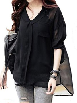 Casual V Neck Loose Shirt