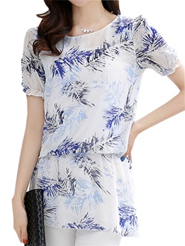 Stylish Hem Floral Printed Slim Work Blouse