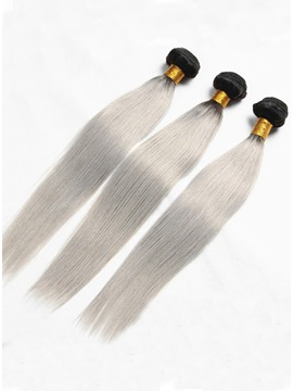 Charming 1b Grey Straight Human Hair Weave 1 Pc