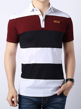 Multi Color Stripe Lapel Short Sleeve Mens Polo