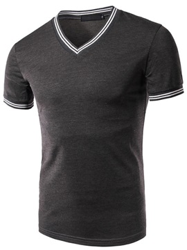 Double Stripe Short Sleeve V Neck Mens Tee