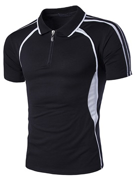 Lapel Color Block Short Sleeve Zipper Mens Polo
