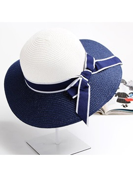 Casual Stripe Bow Women Sun Hat