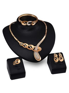 Hollow Rhinestones Jewelry Set For Women