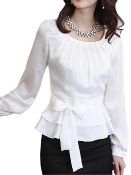 Chic Belt Dress Hem Blouse