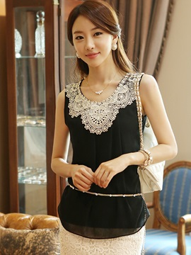 Chic Lace Decoration Collar Sleeveless Blouse