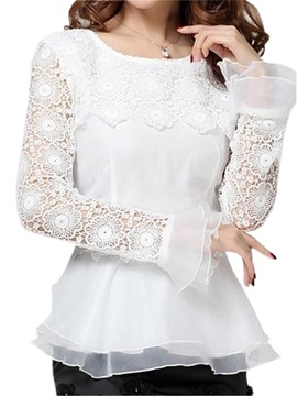 Special Dress Hem Lace Sleeves Blouse