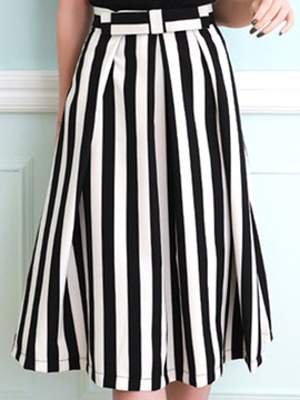 Stripe Mid Waist Knee Length Skirt