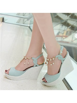 Beading Pu Peep Toe Wedge Sandals