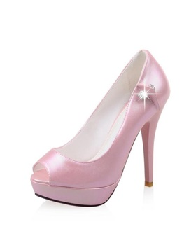 Pu Peep Toe Stiletto Heel Platform Pumps