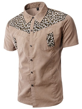 Leopard Print Patchwork Short Sleeve Mens Shirt