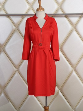 Plain V Neck 3 4 Sleeve Day Dress