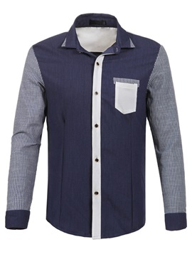 Chest Pocket Block Stripe Sleeve Mens Shirt