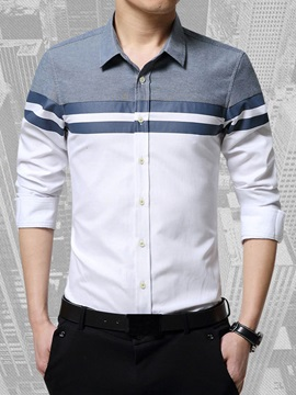Front Stripe Design Single Breasted Mens Casual Shirt