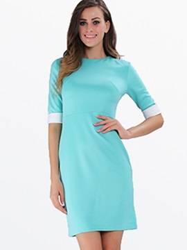 Backless Contrast Color Half Sleeve Work Bodycon Dress
