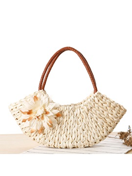 Zip Weave With Flower Adornment Women Straw Bag