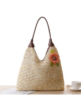 Zipper With Flower Adornment Women Straw Bag