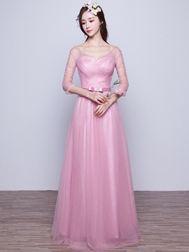 V Neck Long Bridesmaid Dress