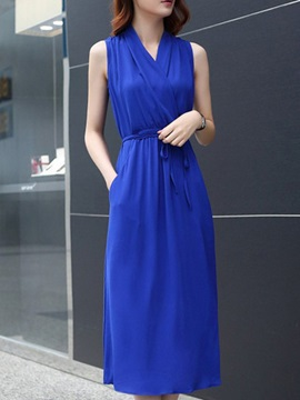 Plain V Neck Sleeveless Belt Day Dress