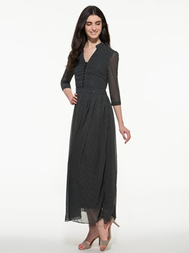 Polka Dots 3 4 Sleeve Maxi Dress