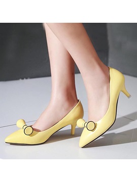 Bowknots Pointed Toe Low Heel Pumps