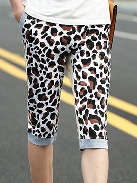 Leopard Printed Block Back Pockets Mens Shorts