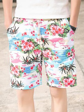 Floral Printed Loose Fit Mens Cotton Blend Shorts