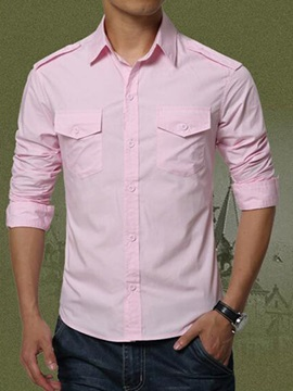 Chest Cover Pockets Lapel Mens Casual Shirt