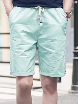 Solid Color Lace Up Mens Knee Length Shorts