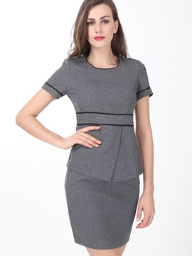 Delicate Round Neck Stripe Designed 2 Piece Dress