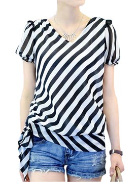 Stylish Lace Up Hem Stripe Blouse
