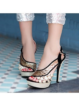 Rivets Sequins Stiletto Heel Sandals