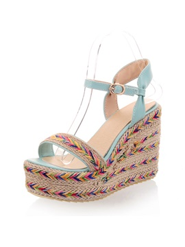 Bohemian Crochet Open Toe Wedge Sandals