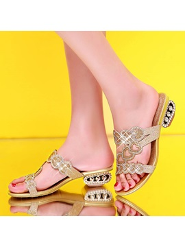 Rhinestone Sequins Open Toe Sandals
