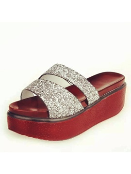 Sweet Sequins Open Toe Wedge Sandals