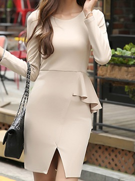 Falbala Plain Round Neck Long Sleeve Bodycon Dress