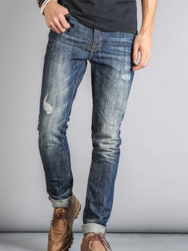 Hole Decorated Middle Waist Mens Denim Pants