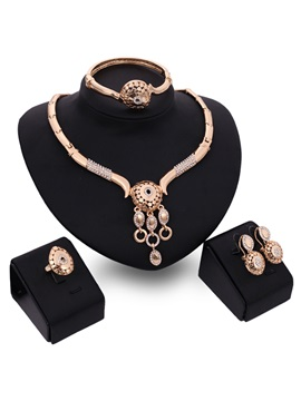 Hollow Rhinestones Women Jewelry Set