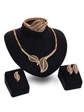 Elegant Leaf Shape Women Jewelry Set