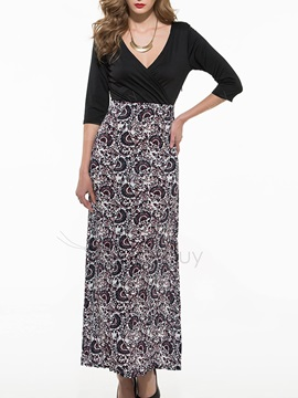 Patchwork Empire Waist V Belt Maxi Dress