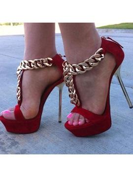 Deco Chains Covering Heel Stiletto Heel Sandals
