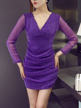 Solid V Long Sleeve Ruffled Bodycon Dress