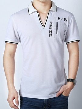 Double Pattern Collar Short Sleeve Mens Polo