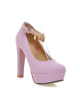 Chains Pu Platform Chunky Heel Pumps