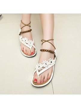 Bohemian Beading Applique Thong Flat Sandals